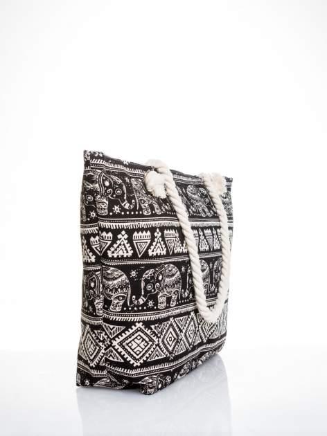 Czarna torba plażowa w indyjskie wzory                                  zdj.                                  3