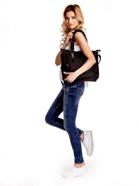 Czarna torba shopper bag z odpinanym paskiem                                  zdj.                                  3
