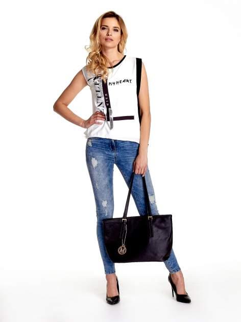 Czarna torba shopper bag z regulowanymi rączkami                                  zdj.                                  2