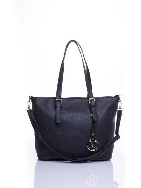 Czarna torba shopper bag z zawieszką