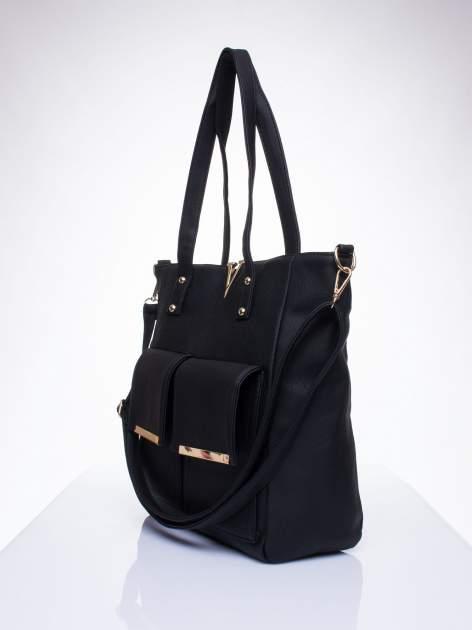 Czarna torba shopper bag ze kieszeniami na klapki                                  zdj.                                  2