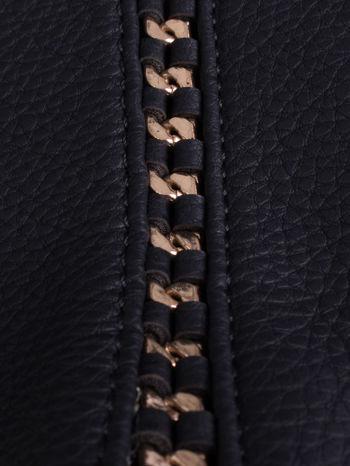 Czarna torba shopper bag ze złotymi wstawkami                                  zdj.                                  5
