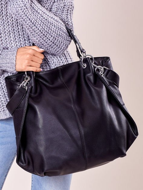 Czarna torba shopper z geometrycznymi modułami                              zdj.                              3