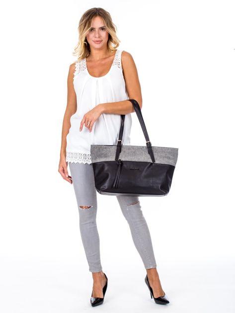 Czarna torba shopper z materiałową wstawką                              zdj.                              1