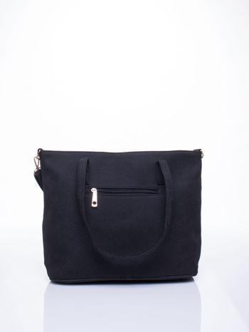 Czarna torba shopperka z odczepianym paskiem                                   zdj.                                  3