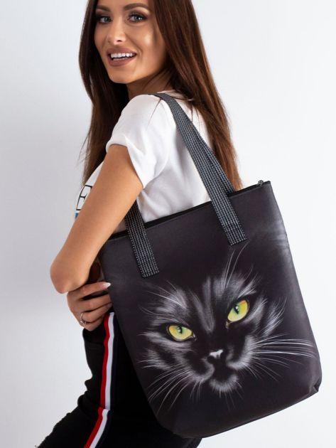 Czarna torba z nadrukiem kota                              zdj.                              1