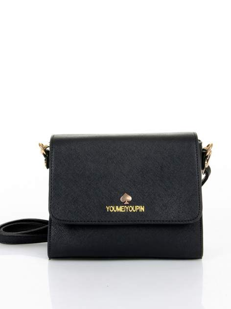 Czarna torebka listonoszka z klapką ze skóry saffiano                                  zdj.                                  1