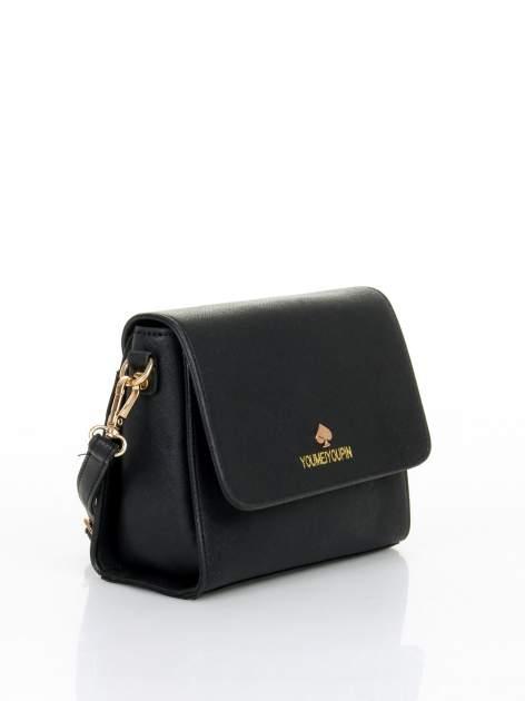Czarna torebka listonoszka z klapką ze skóry saffiano                                  zdj.                                  2