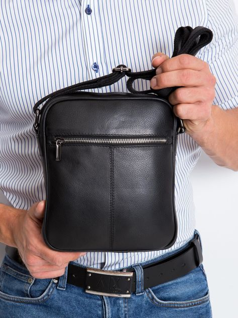Czarna torebka męska z naturalnej skóry                              zdj.                              3