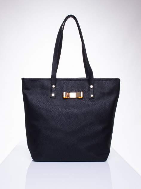 Czarna torebka shopper bag z kokardką                                  zdj.                                  1
