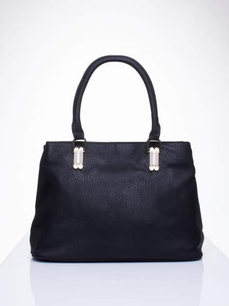 Czarna torebka ze złotymi okuciami z kryształkami                                  zdj.                                  1