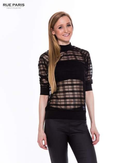 Czarna transparentna bluza w kratę z półgolfem                                  zdj.                                  1