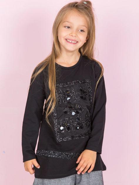 Czarna tunika dla dziewczynki z aplikacjami
