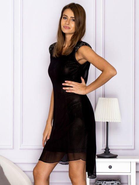 Czarna warstwowa sukienka z wiązaniem                               zdj.                              5