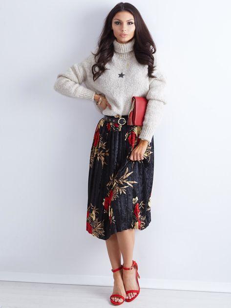 Czarna welurowa plisowana spódnica w kwiaty                              zdj.                              4