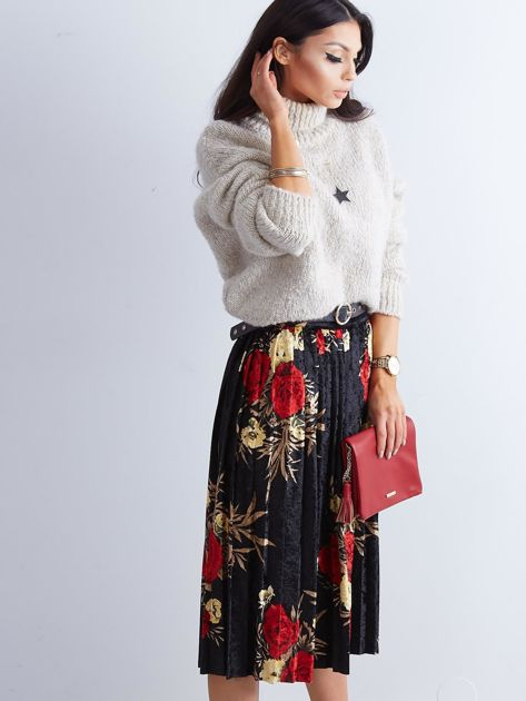 Czarna welurowa plisowana spódnica w kwiaty                              zdj.                              7