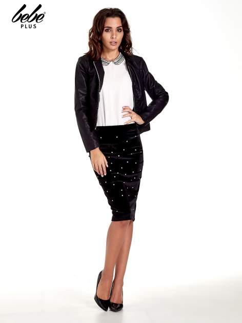 Czarna welurowa spódnica z kryształkami                                  zdj.                                  2