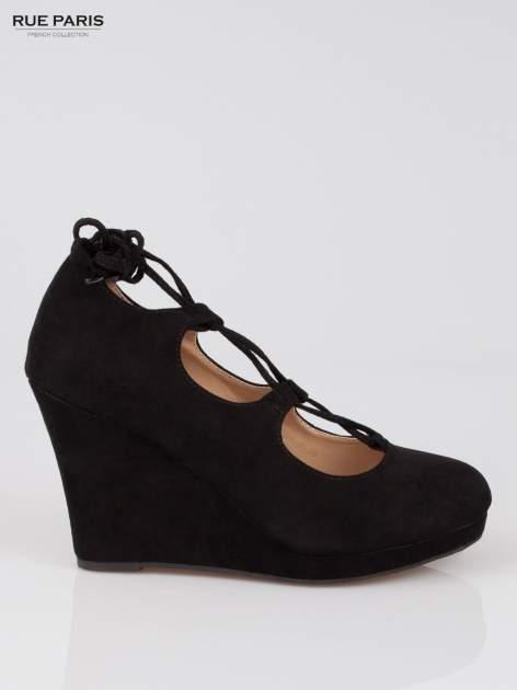 Czarna wiązane koturny lace up                                  zdj.                                  1