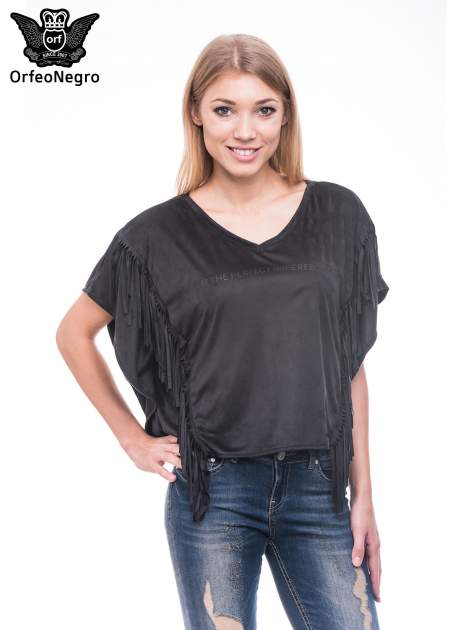 Czarna zamszowa bluzka nietoperz z frędzlami