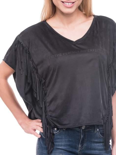 Czarna zamszowa bluzka nietoperz z frędzlami                              zdj.                              6