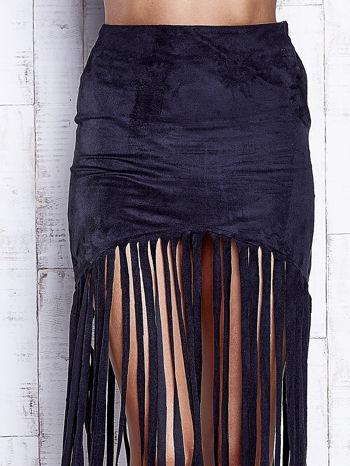 Czarna zamszowa spódnica z frędzlami                                  zdj.                                  5