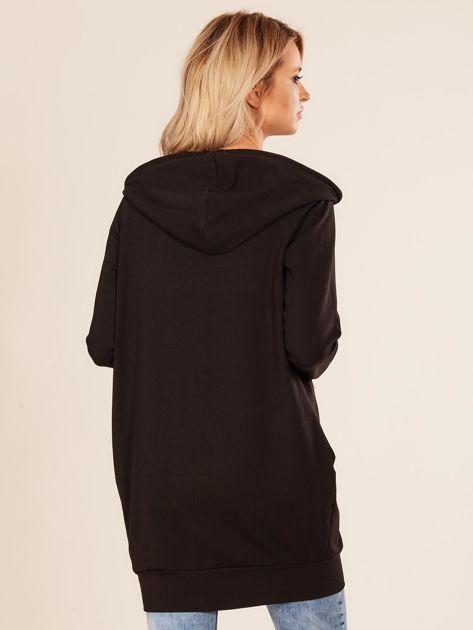 Czarna zapinana bluza z kapturem                              zdj.                              2