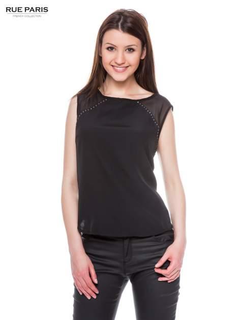 Czarna zwiewna koszula z dżetami                                  zdj.                                  1