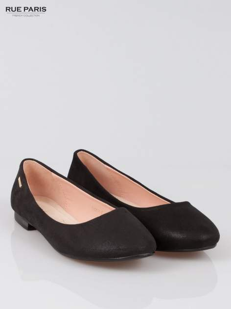 Czarne baleriny dual leather Gloss z lekkim metalizowaniem                                  zdj.                                  2