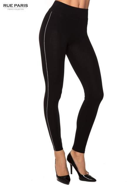 Czarne bawełniane legginsy z kontrastowym pasem wzdłuż nogawki