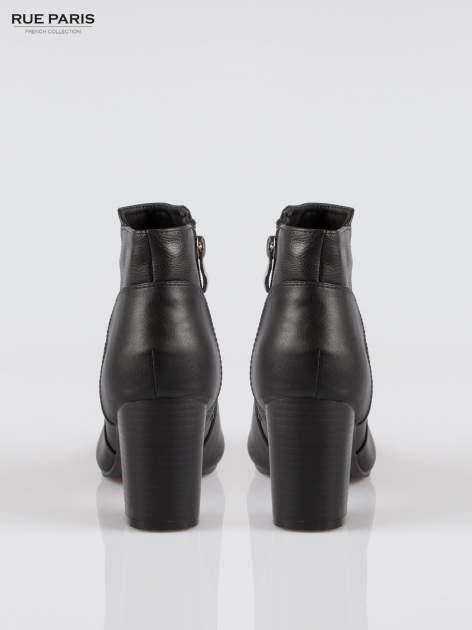 Czarne botki ankle heels na słupku                                  zdj.                                  3
