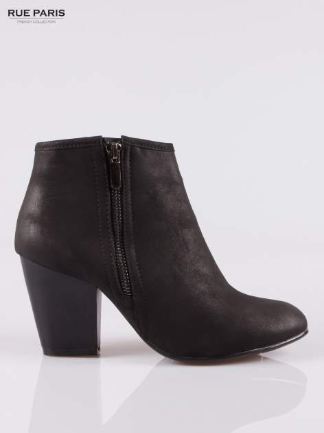 Czarne botki ankle heels na słupku z zamkami po obu stronach                                  zdj.                                  1