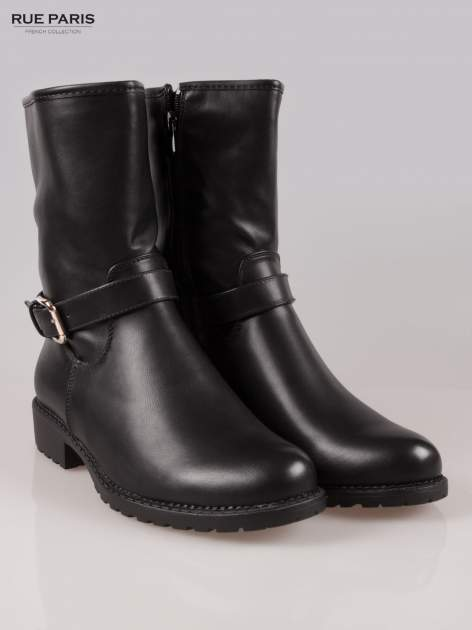 Czarne botki biker boots z klamerką i ćwiekami                                  zdj.                                  2
