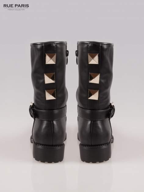 Czarne botki biker boots z klamerką i ćwiekami                                  zdj.                                  3