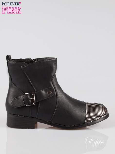 Czarne botki biker boots z noskiem nabitym dżetami