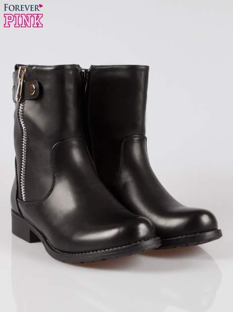 Czarne botki biker boots z suwakiem z boku                                  zdj.                                  2