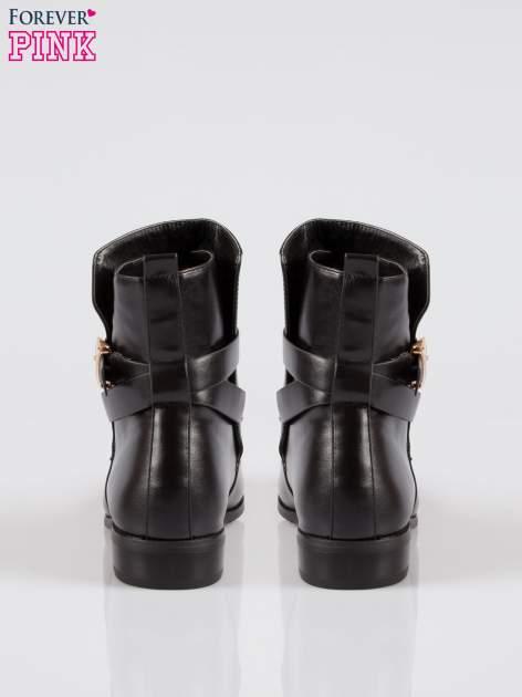 Czarne botki biker boots ze złotą blaszką                                  zdj.                                  3