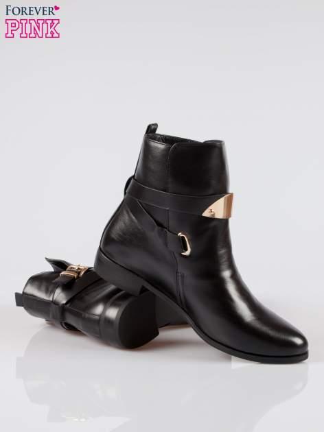 Czarne botki biker boots ze złotą blaszką                                  zdj.                                  4