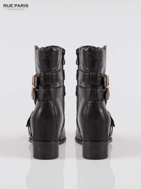 Czarne botki biker boots ze złotymi klamrami                                  zdj.                                  3