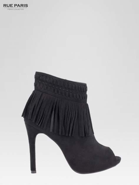Czarne botki faux suede Suzie open toe z frędzlami w stylu boho