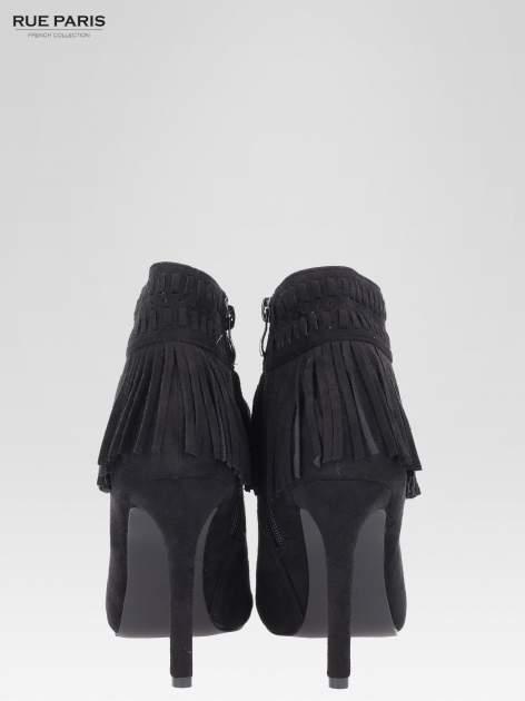 Czarne botki faux suede Suzie open toe z frędzlami w stylu boho                                  zdj.                                  4