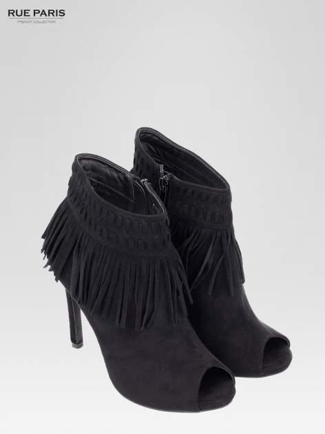 Czarne botki faux suede Suzie open toe z frędzlami w stylu boho                                  zdj.                                  7