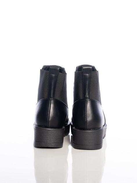 Czarne botki z elastyczna cholewką z ecoskóry                              zdj.                              3