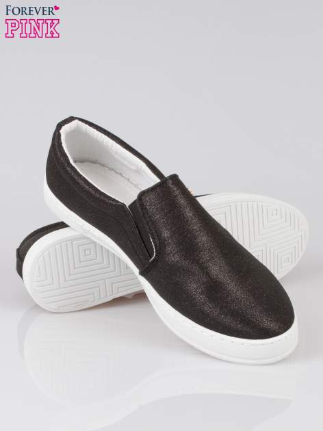 Czarne buty sliponki glitter                                  zdj.                                  4