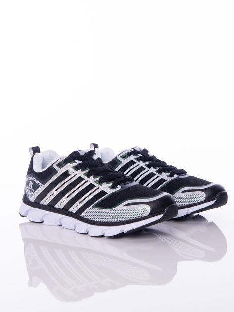 Czarne buty sportowe zdobione białymi wstawkami na sprężystej podeszwie                              zdj.                              2