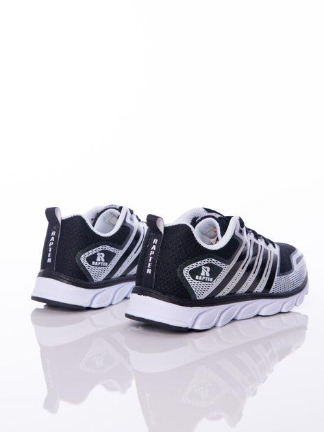 Czarne buty sportowe zdobione białymi wstawkami na sprężystej podeszwie                              zdj.                              3