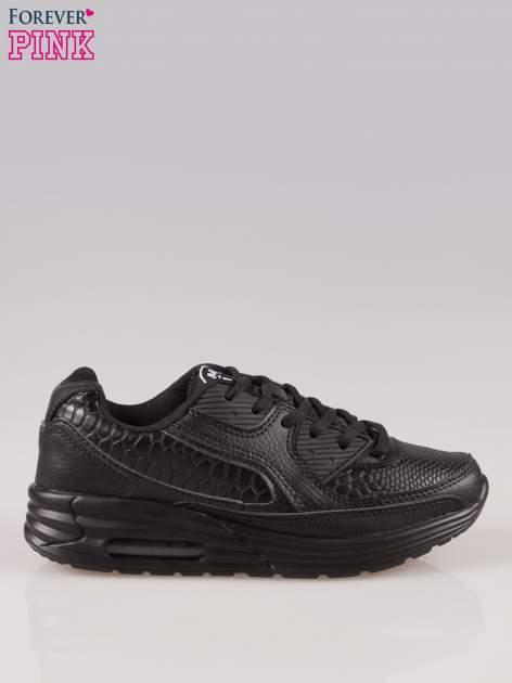Czarne buty sportowe ze wstawkami ze skóry krokodyla
