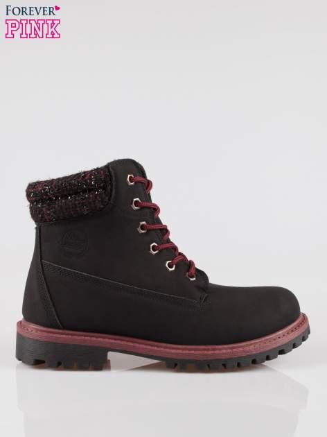 Czarne buty trekkingowe traperki z ozdobnym kołnierzem                                  zdj.                                  1