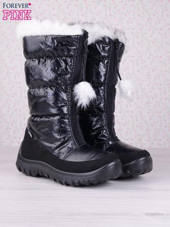 Czarne ciepłe pikowane śniegowce z membraną na suwak