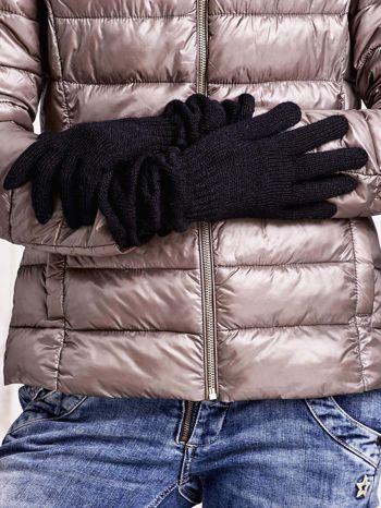 Czarne długie rękawiczki z marszczonym ściągaczem                                   zdj.                                  2