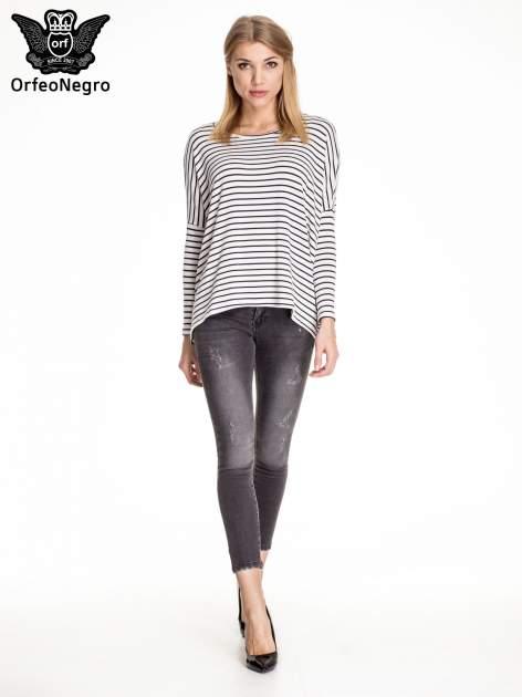 Czarne dopasowane spodnie skinny jeans z przetarciami i zamkami na dole                                  zdj.                                  2